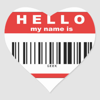 Hello, My Name Is Geek Barcode Heart Sticker