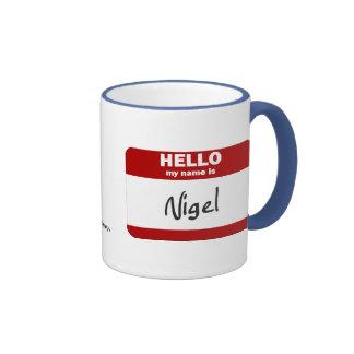 Hello My Name Is Nigel Red Mugs