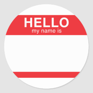 Hello My Name Is - Red Round Sticker