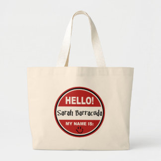 Hello My Name is Sarah Barracuda Palin Jumbo Tote Bag