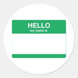 Hello My Name is Round Sticker
