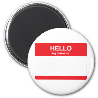 Hello, my name is (your text) 6 cm round magnet