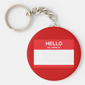 Hello, my name is (your text) basic round button key ring