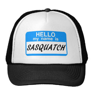 Hello Name Tag Sasquatch Mesh Hats