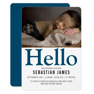 Hello New Baby Blue Personalised Card
