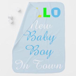 Hello New Baby Boy in Town Blue Blanket