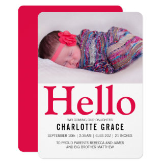 Hello New Baby Bright Pink Personalised Card