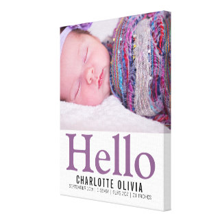 Hello New Baby Purple Themed Personalised keepsake Canvas Print
