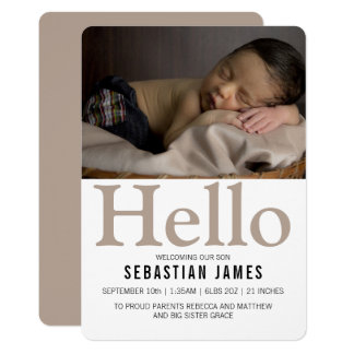 Hello New Baby Taupe Personalized Card