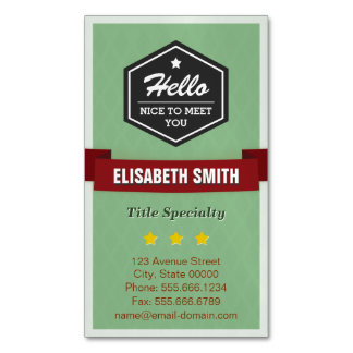 Hello Nice to Meet You - Modern Vintage Stylish Magnetic Business Cards