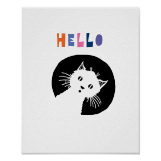 Hello, nursery art, cat nursery poster