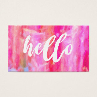 Hello Pink Abstract Artsy Beautiful Business Card