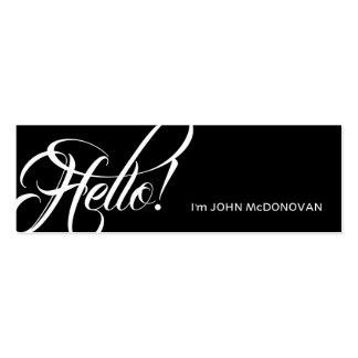 Hello! Professional Black and White Pack Of Skinny Business Cards