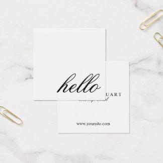 Hello | Professional Modern Elegant Black&White Square Business Card