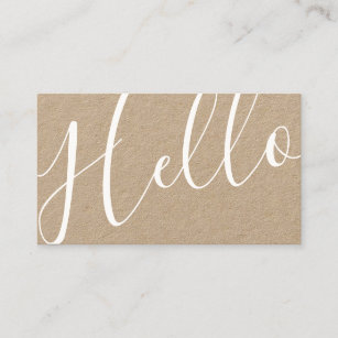 Kraft business cards zazzle au hello professional modern script kraft paper business card reheart Image collections