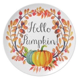 """Hello Pumpkin!"" Autumn Wreath Dinner Plate"