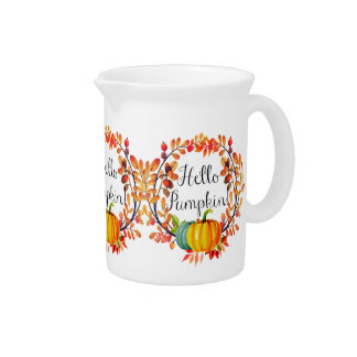 """Hello Pumpkin!"" Autumn Wreath Holiday Pitcher"