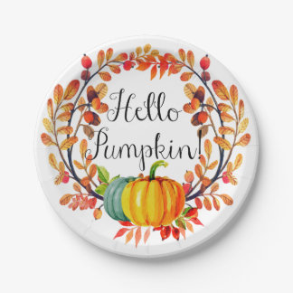 """Hello Pumpkin!"" Autumn Wreath Paper Plates"