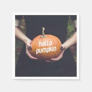 Hello pumpkin paper napkins