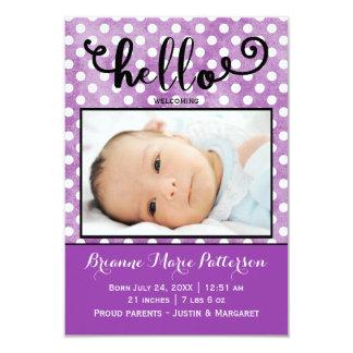 hello purple photo - 3x5 Birth Announcement
