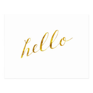 Hello Quote Faux Gold Foil Quotes Humor Sparkly Postcard