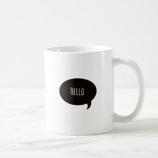 Hello quote in speech bubble basic white mug