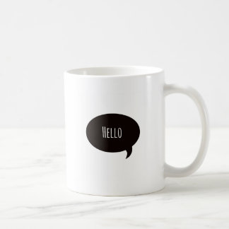 Hello quote in speech bubble coffee mug
