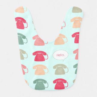 """""""Hello"""" Rotary Phone Pattern Baby Bibs"""