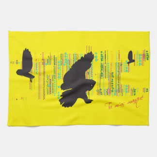 Hello said the Great Gray Owl Tea Towel