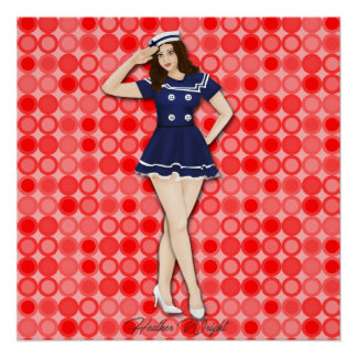 Hello Sailor Retro Pinup Girl Art Poster
