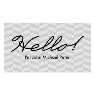 Hello Salutations Classic Herringbone Pattern Pack Of Standard Business Cards