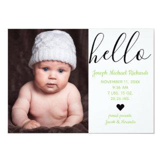 Hello Script Photo Green - Birth Announcement