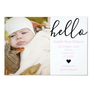 Hello Script Photo Pink - 3x5 Birth Announcement