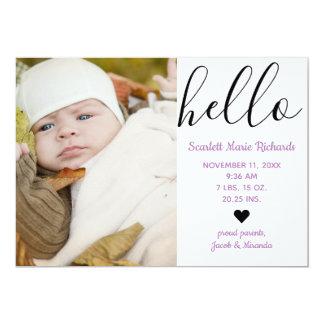 Hello Script Photo Purple - Birth Announcement