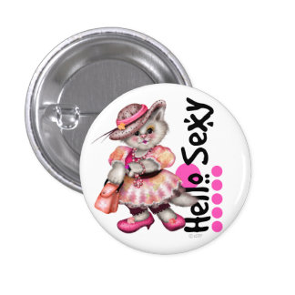HELLO SEXT CAT PINK CUTE  CARTOON Small, 1¼ Inch 3 Cm Round Badge