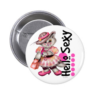 HELLO SEXT CAT PINK CUTE  CARTOON Small, 2¼ Inch 6 Cm Round Badge
