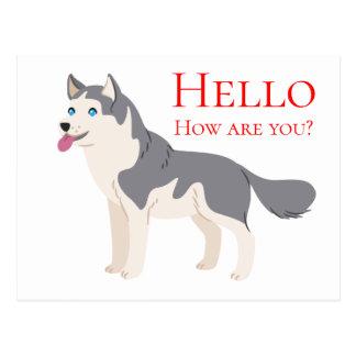 Hello Siberian Husky Puppy Dog Friendship Love Postcard