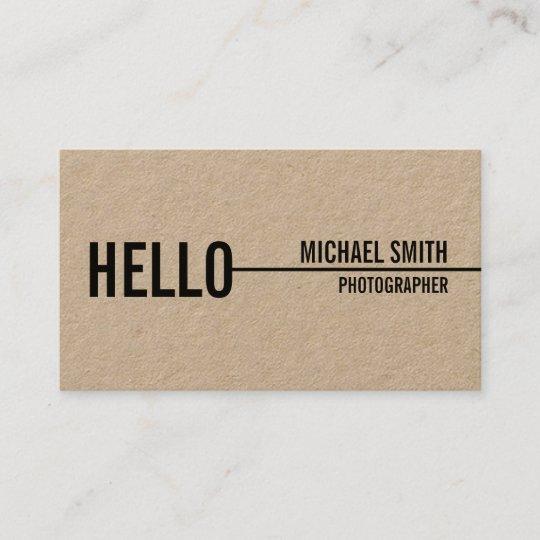 Hello simple modern minimalist kraft paper business card zazzle hello simple modern minimalist kraft paper business card reheart Image collections