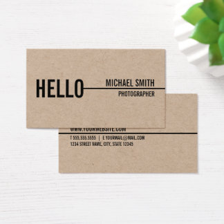 """Hello"" Simple Modern Minimalist Kraft Paper Business Card"