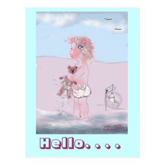 Hello - small sweet ones  + Teddy postcard