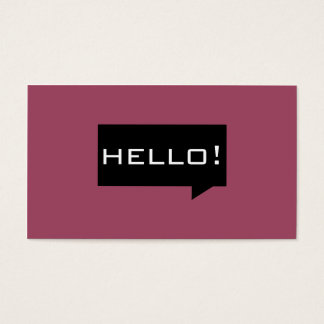 Hello speech bubble burgundy chic business cards