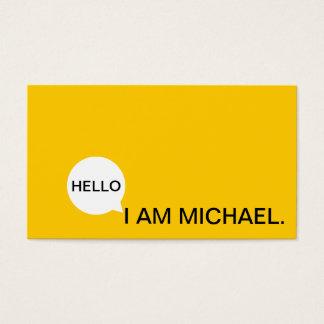 Hello Speech Bubble | Casual Modern Black & Yellow Business Card