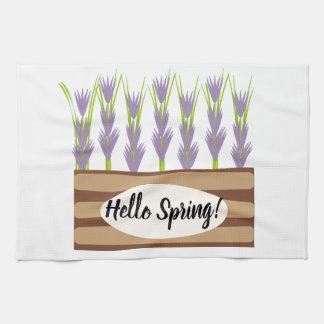 hello spring kitchen towel