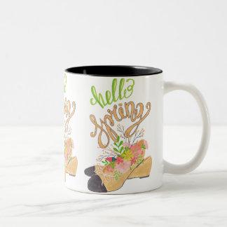 Hello Spring Two-Tone Coffee Mug