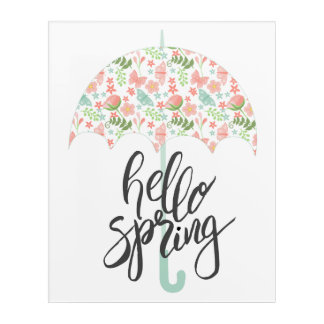 Hello Spring Umbrella Acrylic Wall Art