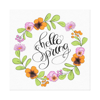 Hello Spring With Floral Wreath Canvas Print