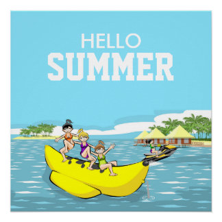Hello summer Banana boat group of girls Poster