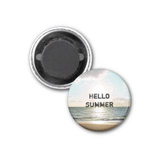 """""""Hello Summer"""" Encouraging 3 Cm Round Magnet"""