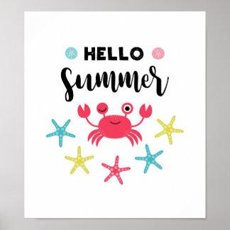 Hello Summer Happy Crab Poster