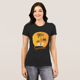 Hello Summer Palm Trees  And Sun Women's T-shirts